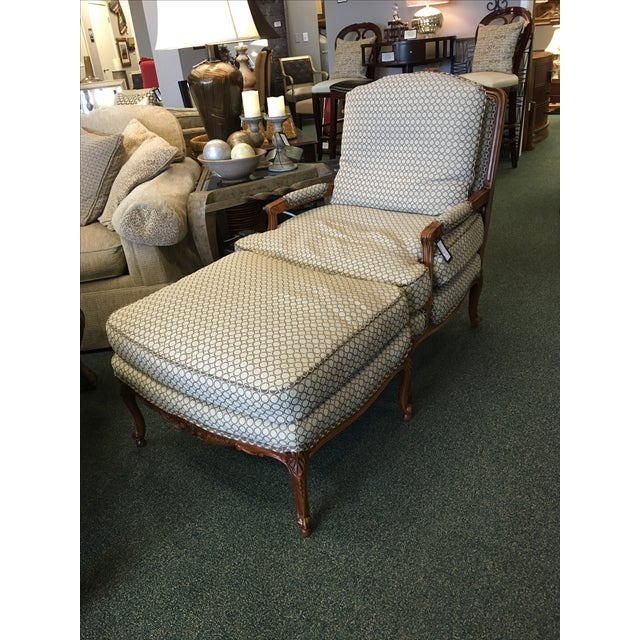 French Country Baker Upholstered Chair & Ottoman - Image 2 of 10