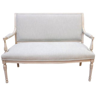 Gustavian Style Painted Settee, Canape, Newly Upholstered in a Light Blue Linen