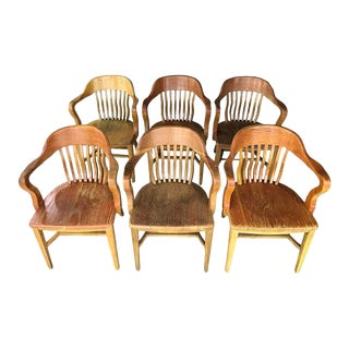 Classic Oak Vintage Bankers Chairs - Set of 6 For Sale