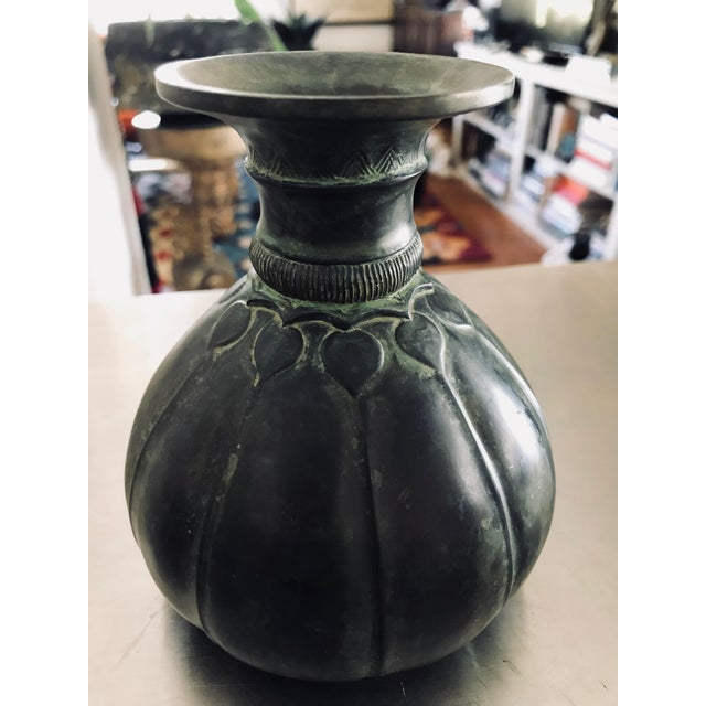 1930s Art Deco Just Andersen Danmark Heavy Metal Vase For Sale - Image 10 of 10