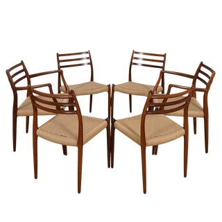 Set of 6 Danish Modern Dining Chairs by Niels Moller in Rosewood With Danish Cord Seats For Sale