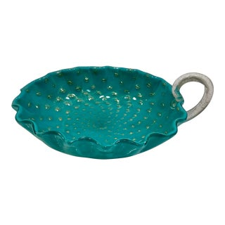 Murano Turquoise and Gold Controlled Bubble Ribbed Dish For Sale