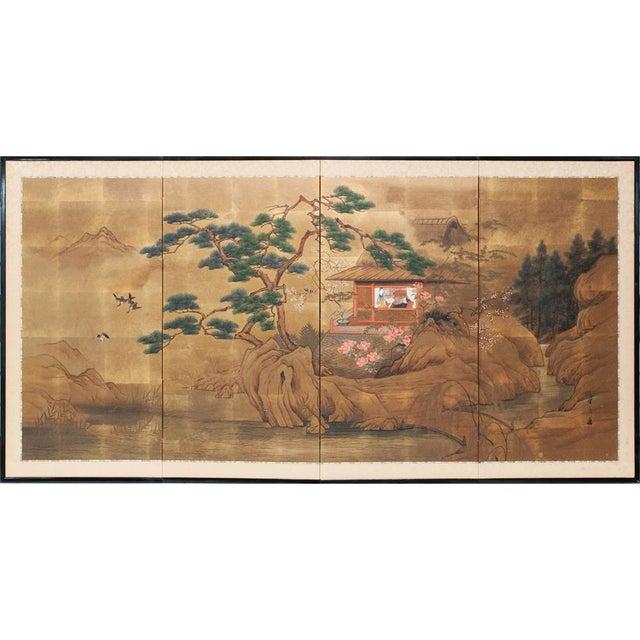 1920s Vintage Japanese Landscape Scene Byobu Screen For Sale - Image 13 of 13