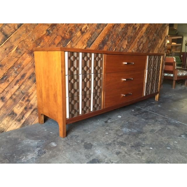 Mid Century Refinished Mahogany Brutalist 9 Drawer Dresser - Image 5 of 7