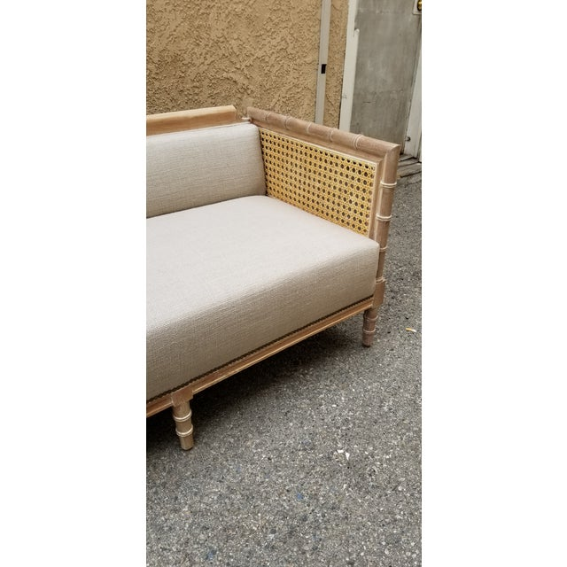 Refinished 1970's Bamboo Cane Sofa/Daybed With Belgium Linen For Sale - Image 4 of 5