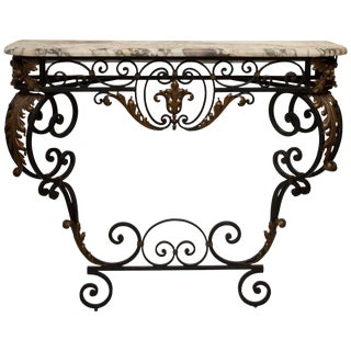 Late 19th Century French Rococo Revival Iron Console With Marble Top For Sale
