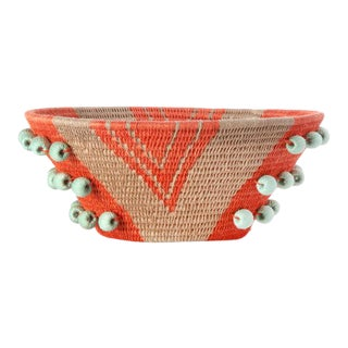 Envelope Medium Basket Tangerine/flax/turquoise For Sale