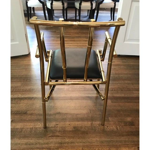 Asian Golden Metal Bamboo & Black Sculpture Chair For Sale - Image 3 of 7