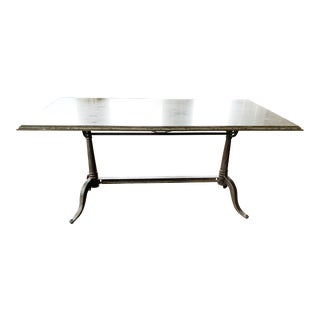 French Marble and Iron Bistro Dining Table For Sale