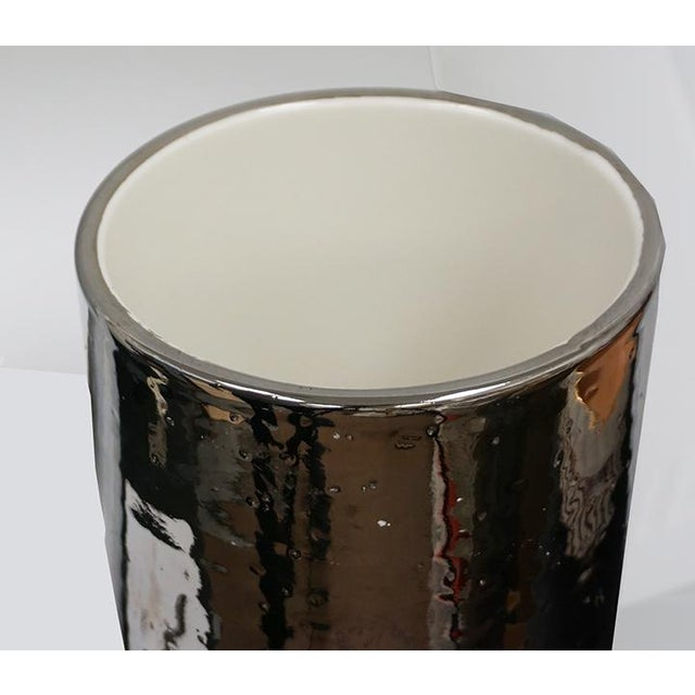 Modern Bitossi Silver Glaze Italian Ceramic Vase For Sale - Image 3 of 5