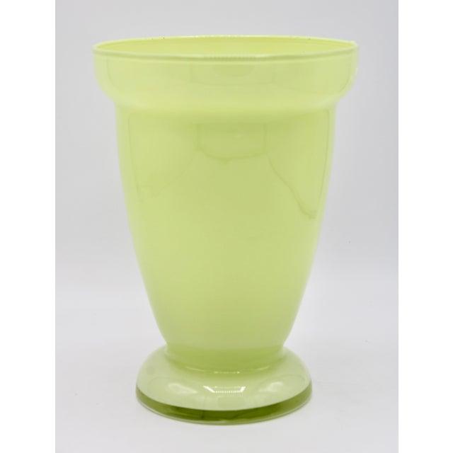Green Mid Century Modern Celery Green Glass Vase For Sale - Image 8 of 8