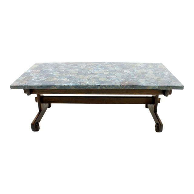 Rare Sergio Rodrigues Coffee Table With Apatit Stone Mosaic Top, Brazil 1964 For Sale
