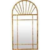 Image of Vintage Labarge Oval Top Spanish Gilt Metal Faux Bamboo Wall Mirror For Sale