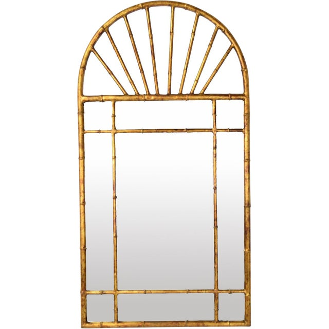 Vintage Labarge Oval Top Spanish Gilt Metal Faux Bamboo Wall Mirror For Sale
