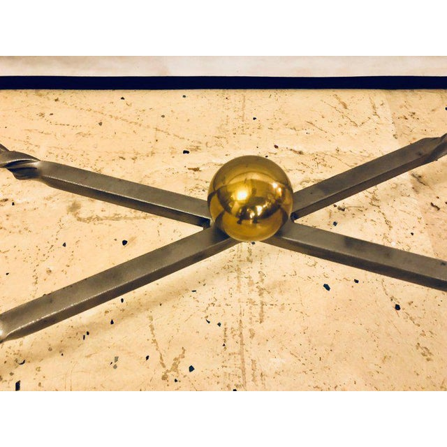 Hollywood Regency Hollywood Regency Style Brass and Steel Glass Top Coffee Table Manner Jansen For Sale - Image 3 of 7