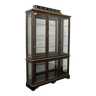 Drexel Heritage Et Cetera Asian Chinoiserie Black Lacquer China Display Cabinet For Sale