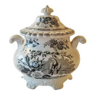Antique 1900s Black and White Transferware Sugar Bowl For Sale
