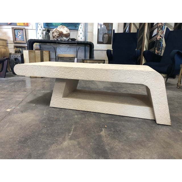 Postmodern 1980's Plaster Coffee Table/Bench For Sale - Image 3 of 8
