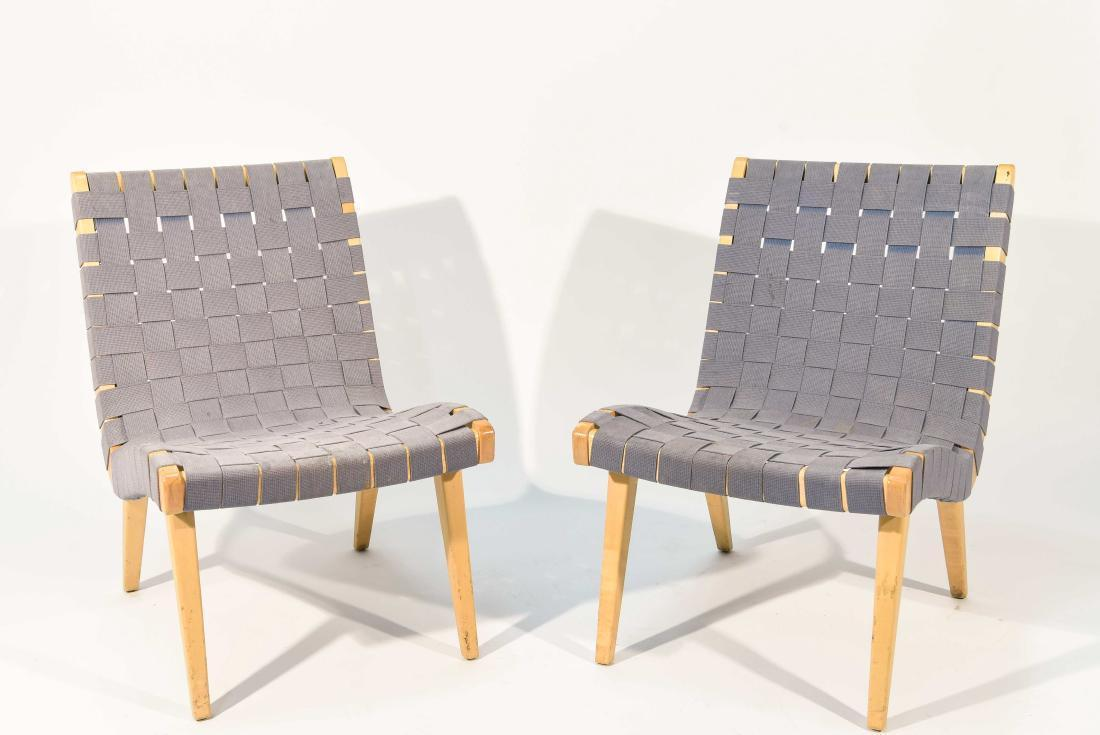 Jens Risom Maple U0026 Gray Webbing Lounge Chairs  A Pair   Image 2 ...