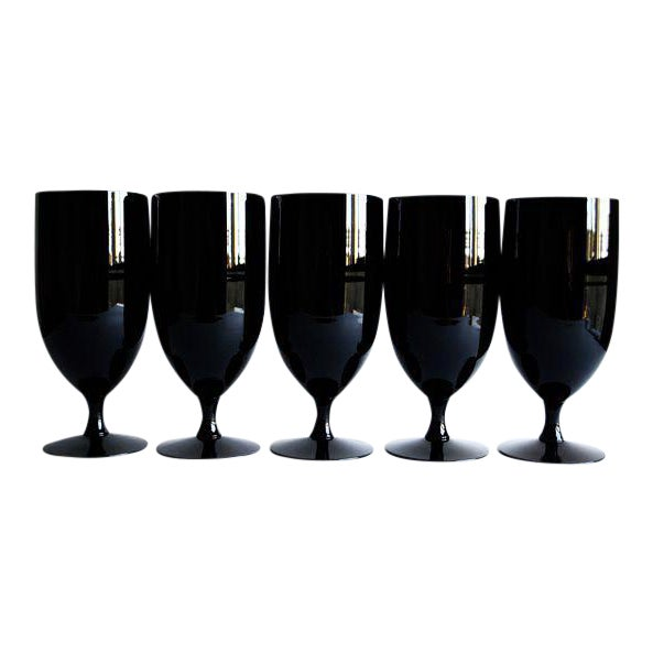 Mid-Century Black Glasses - Set of 5 - Image 1 of 4