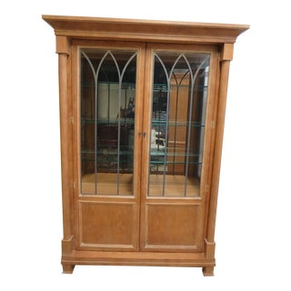 Henredon Monumental Aegean Crystal Curio China Hutch Cabinet