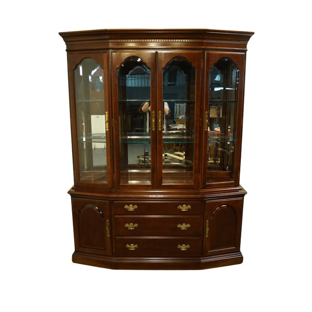 "Bernhardt Furniture Traditional Solid Cherry 64"" Display China Cabinet. There Is A Bernhardt Furniture Stamp On The Inside..."