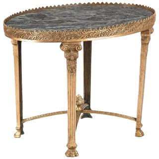 Empire Style Gilded Bronze and Marble Top Side Table, 1950s