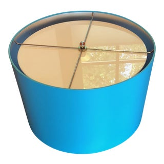 Shades of Light Turquoise Drum Shade Ceiling Fixture For Sale