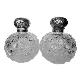 Antique Large English Perfume Bottles - a Pair For Sale