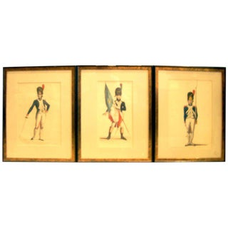 Set of Three 19th Century Hand Colored Engravings For Sale