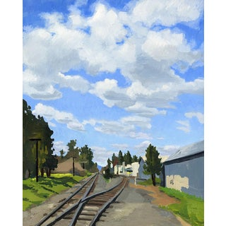 Cumulus Clouds and Railroad Tracks, Phoenix, OR - Original Oil Painting For Sale