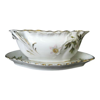 Rosenthal Louis XIV Hand Painted Floral Gilt Gravy Boat with Attached Saucer For Sale