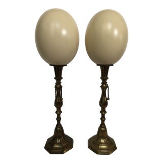 Porcelain Ostrich Eggs on Brass Stands a Pair For Sale