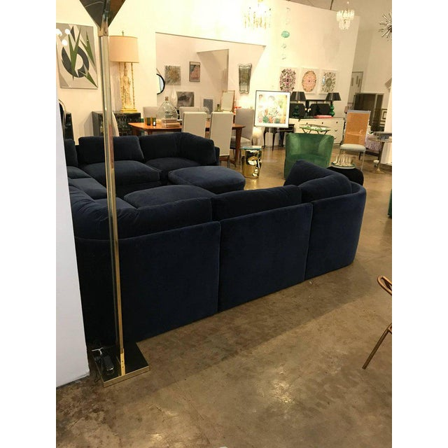 Mid Century Modern / Contemporary 10 pc Thayer Coggin Sectional in Cotton Velvet - Image 4 of 9