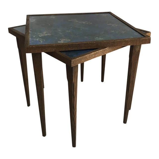 Mid-Century Stacking Tables With Glass Tops - A Pair For Sale