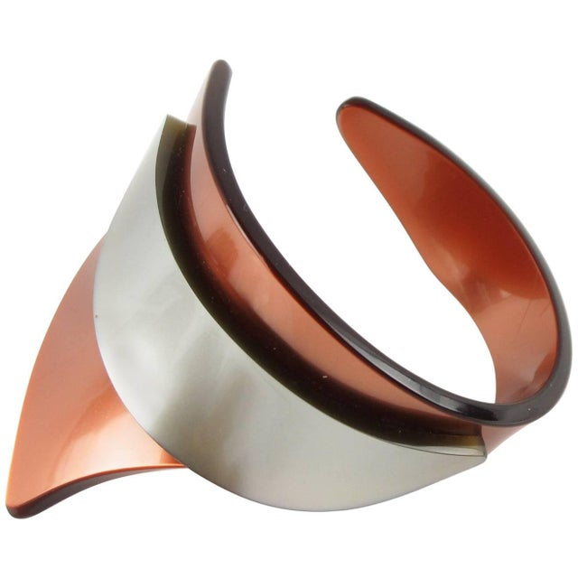 Orange French Artisan Studio Space Age Lucite Sculptural Cuff Bracelet For Sale - Image 8 of 8