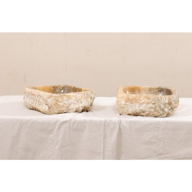 Pair of Natural Onyx Sink Basins For Sale - Image 4 of 12
