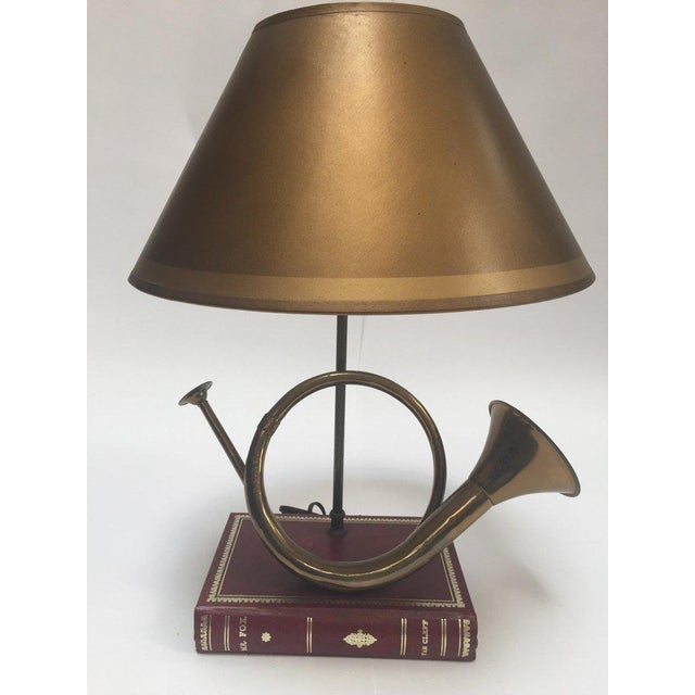 Vintage Brass Looped Hunter's Horn Bugle Made Into a Table Lamp by Robert Abbey For Sale - Image 13 of 13