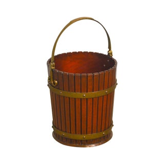 Quality Antique Reproduction Mahogany & Brass Handled Peat Bucket Waste Bin For Sale