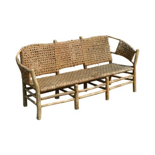 Old Hickory Antique Rustic 3 Seat Settee For Sale