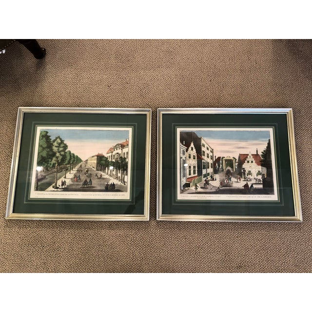 Antique Silver Framed Green Matted Bookplate Etchings - a Pair For Sale - Image 13 of 13