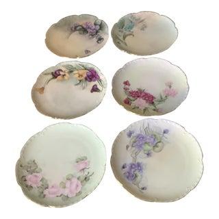 Antique Haviland Limoges Botanical Dessert Plates - Set of 6 \ Handpainted Signed For Sale