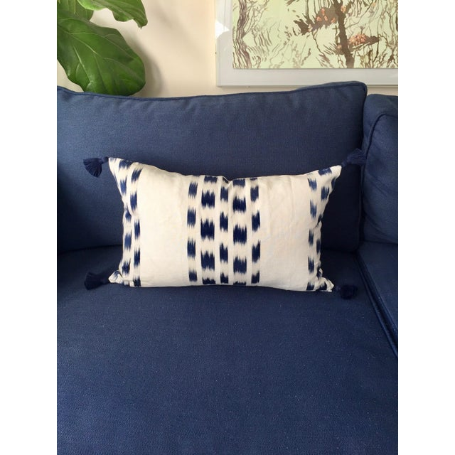 Professionally sewn, brand new, unused custom 14x22 lumbar pillow cover in Schumacher's iconic Izmir Stripe - a navy and...