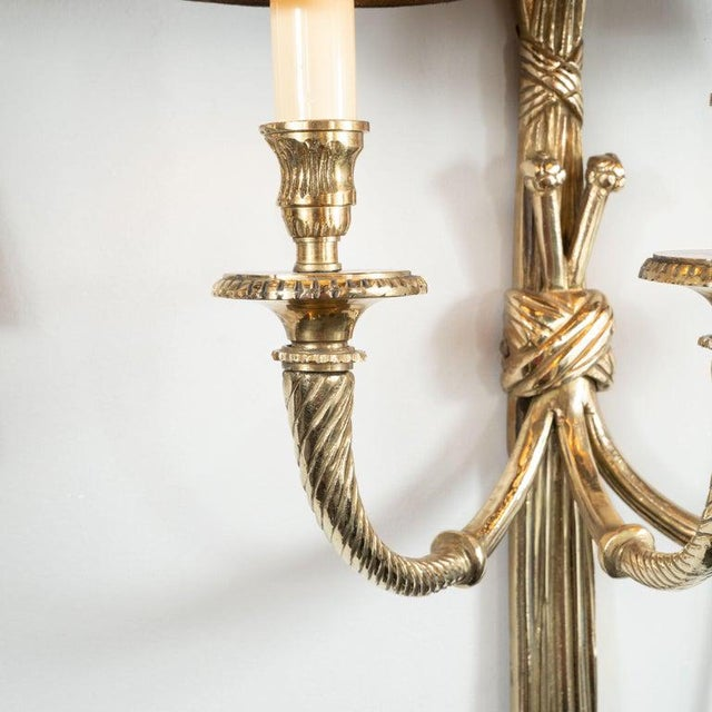 Black Mid-Century Modern Neoclassical Silvered Bronze Sconces - a Pair For Sale - Image 8 of 9