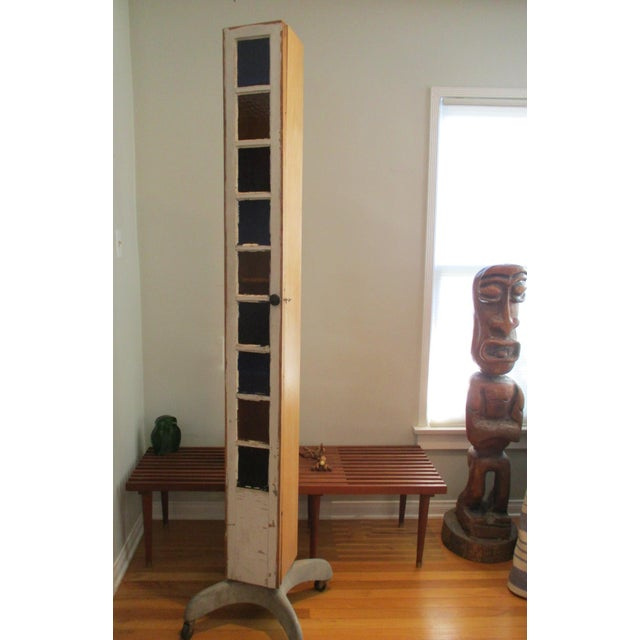 Artisan Crafted Tall Glass Door Shabby Storage Cabinet