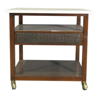 1960s Harvey Probber Style Mid-Century Modern Marble Top Rolling Stand For Sale