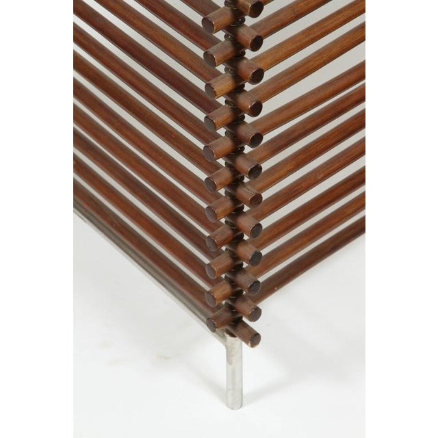 Mid Century Wood Stick & Ball Screen - Image 3 of 7