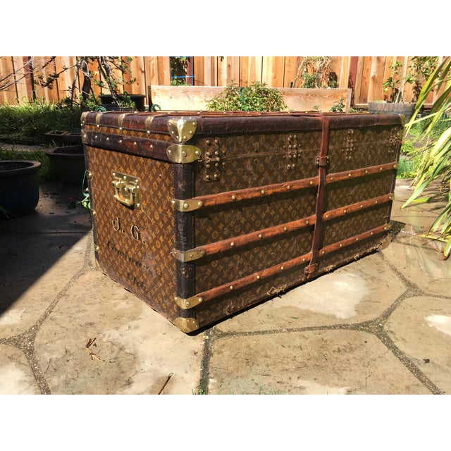 1930s 1930s French Louis Vuitton Monogram Steamer Trunk For Sale - Image 5 of 13