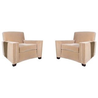 Pair of Art Deco Club Chairs in Camel Hued Mohair with Inset Deco Fan Design