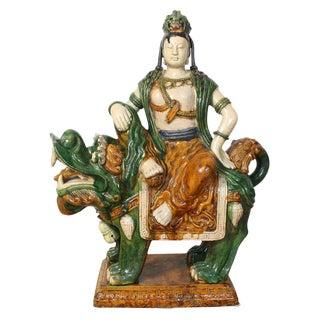 Monumental Mid-20th Century Glazed Ceramic Quan Yin Astride a Foo Dog For Sale